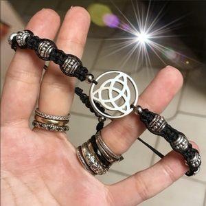 Celtic knot triquetra charm macrame bracelet